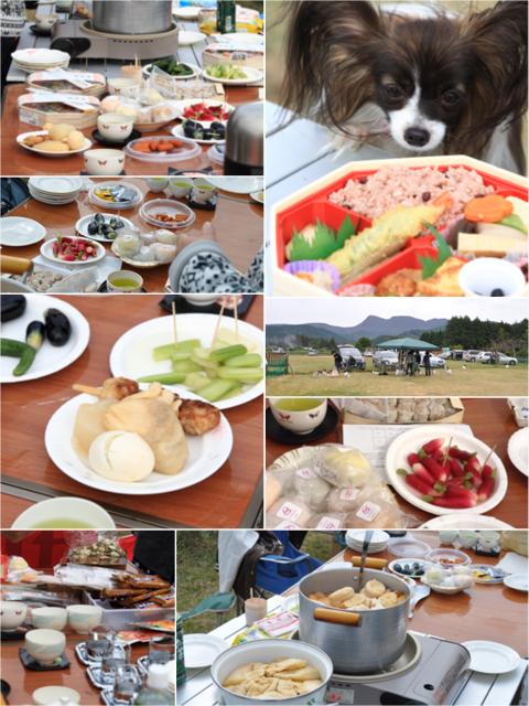 テーブルの上には食べ物がいっぱい!