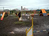 雨で水たまりのできたフィールド