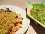 チャーハン(左)、セロリの炒め物(右)@衡山小館
