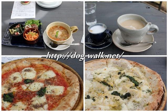 茶屋雨巻の前菜とピザ